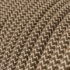 Single Pendant, suspended lamp with Natural & Brown Linen Chevron textile cable RD73
