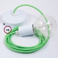 Single Pendant, suspended lamp with Neon Green textile cable RF06