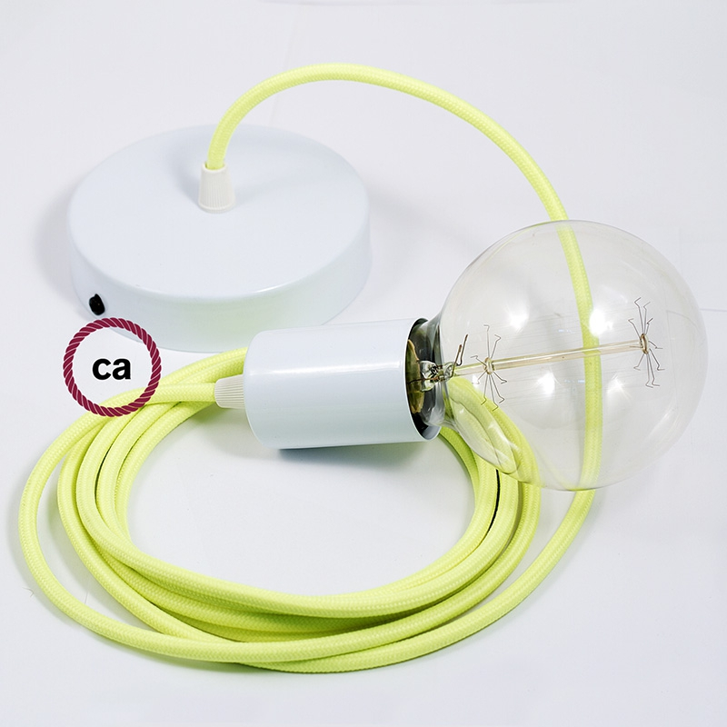 Single Pendant, suspended lamp with Neon Yellow textile cable RF10