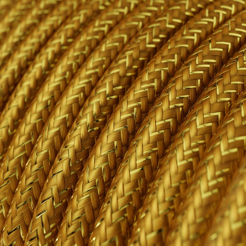 Single Pendant, suspended lamp with Gold Glitter textile cable RL05
