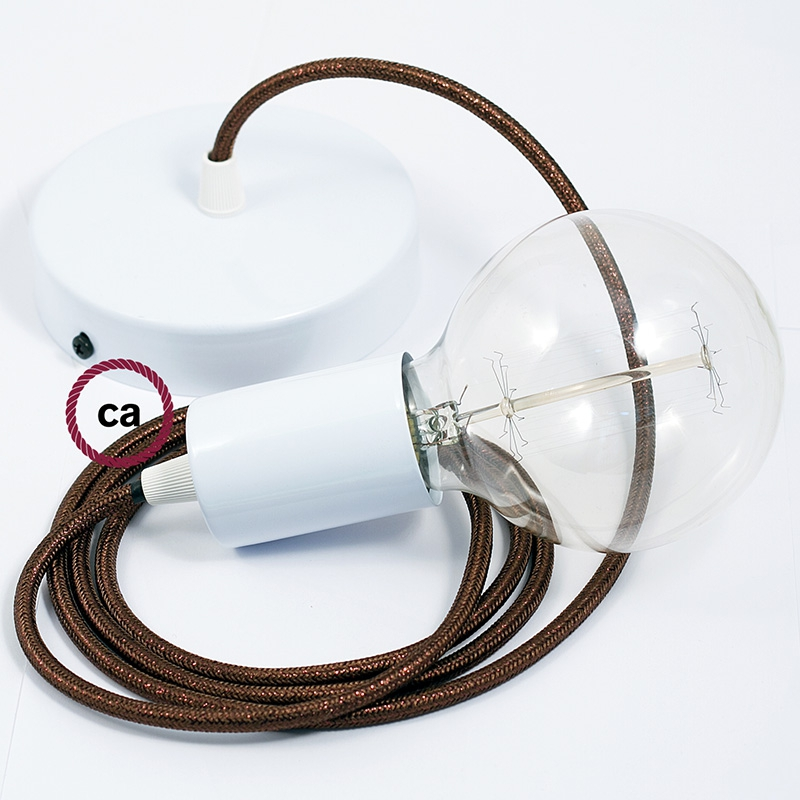 Single Pendant, suspended lamp with Brown Glitter textile cable RL13