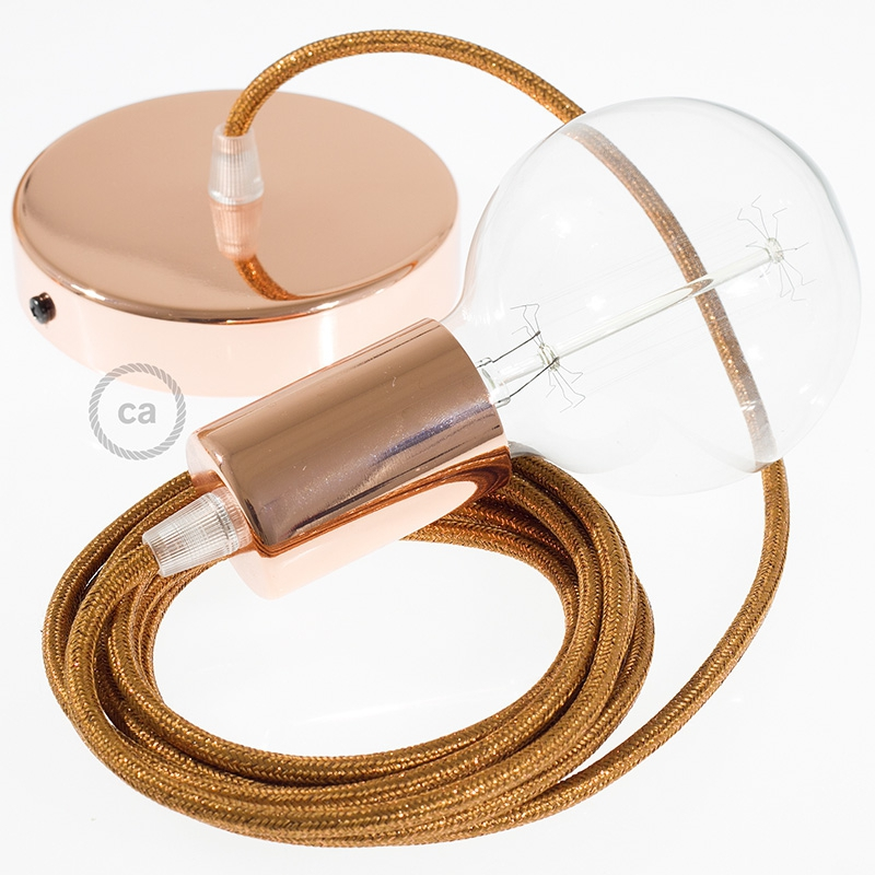 Single Pendant, suspended lamp with Copper Glitter textile cable RL22