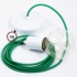 Single Pendant, suspended lamp with Green Rayon textile cable RM06