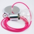 Single Pendant, suspended lamp with Fuchsia Rayon textile cable RM08