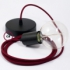 Single Pendant, suspended lamp with Burgundy Rayon textile cable RM19