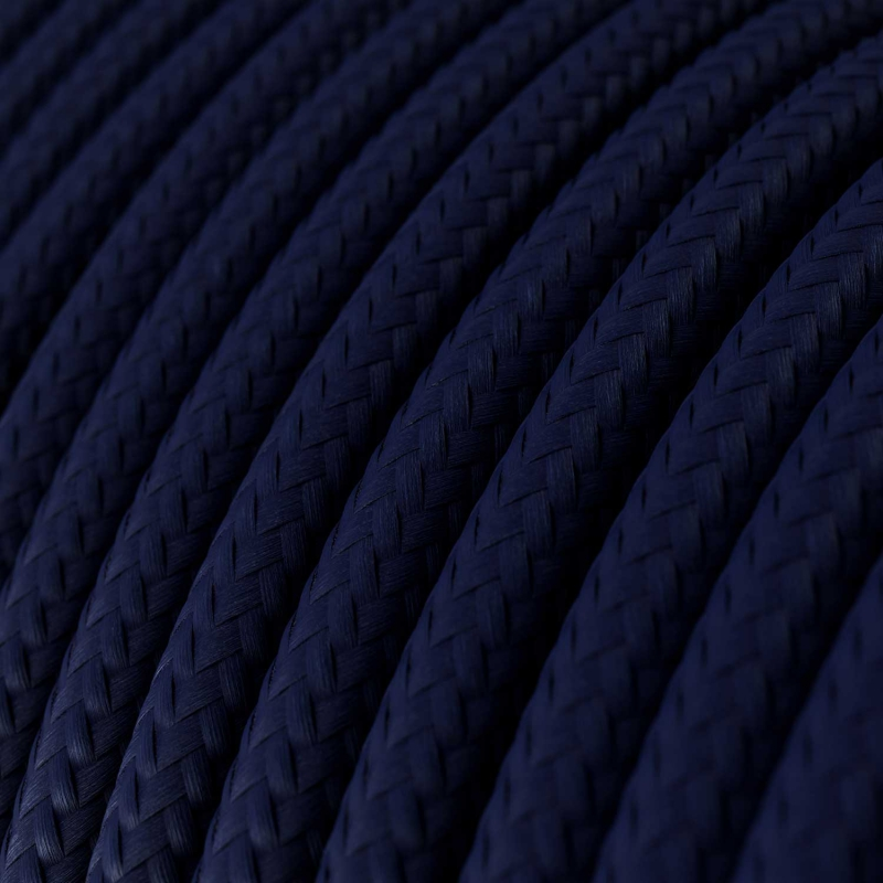 Single Pendant, suspended lamp with Dark Blue Rayon textile cable RM20