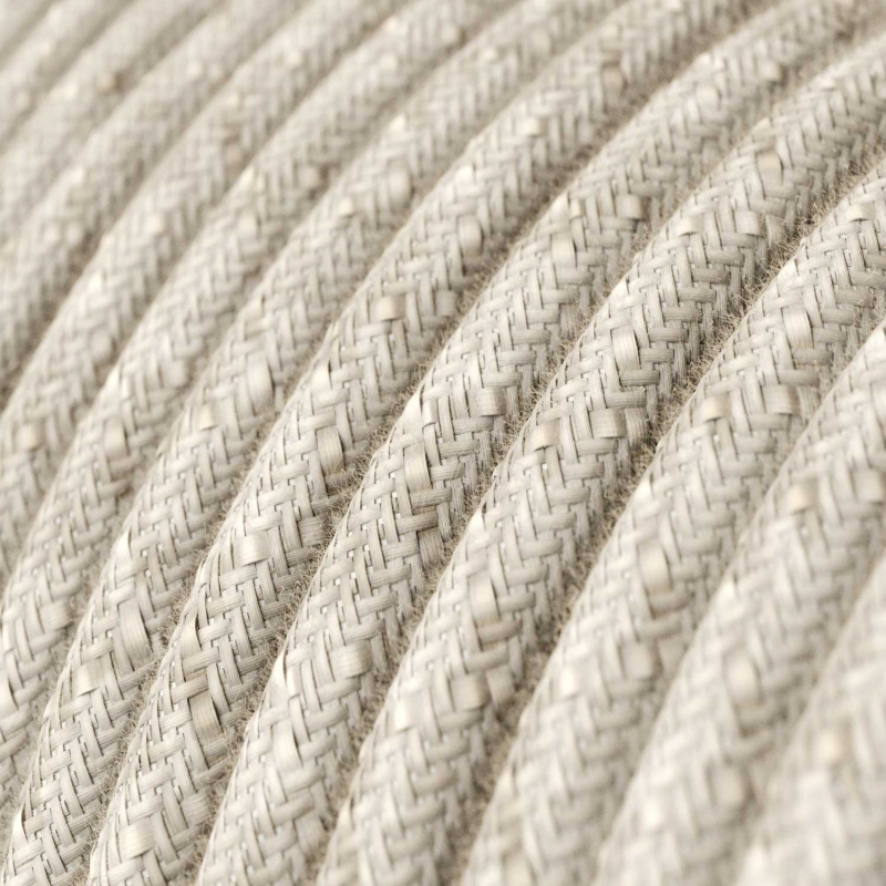 Single Pendant, suspended lamp with Natural Linen textile cable RN01