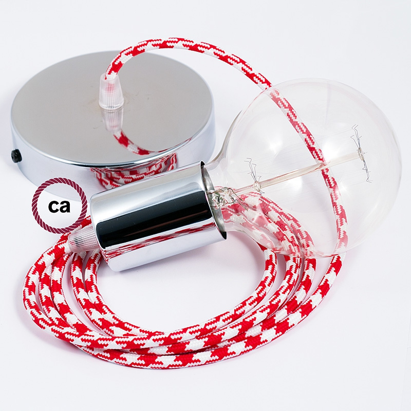 Single Pendant, suspended lamp with Red & White Houndstooth textile cable RP09