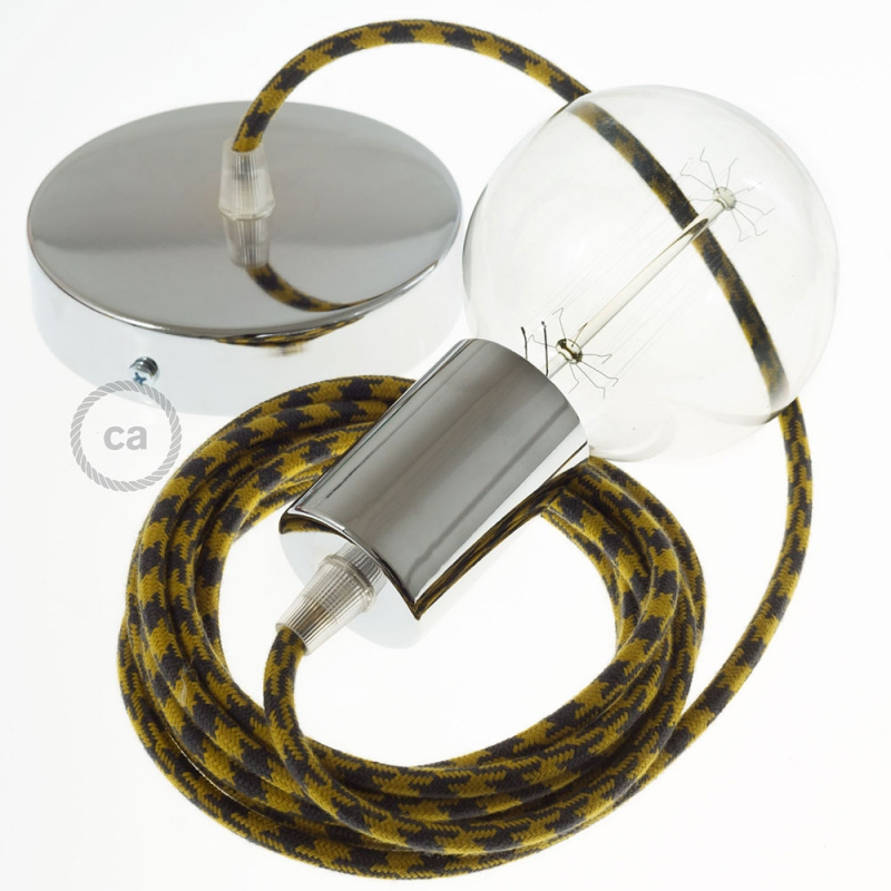 Single Pendant, suspended lamp with Mustard & Gray Cotton Houndstooth textile cable RP27
