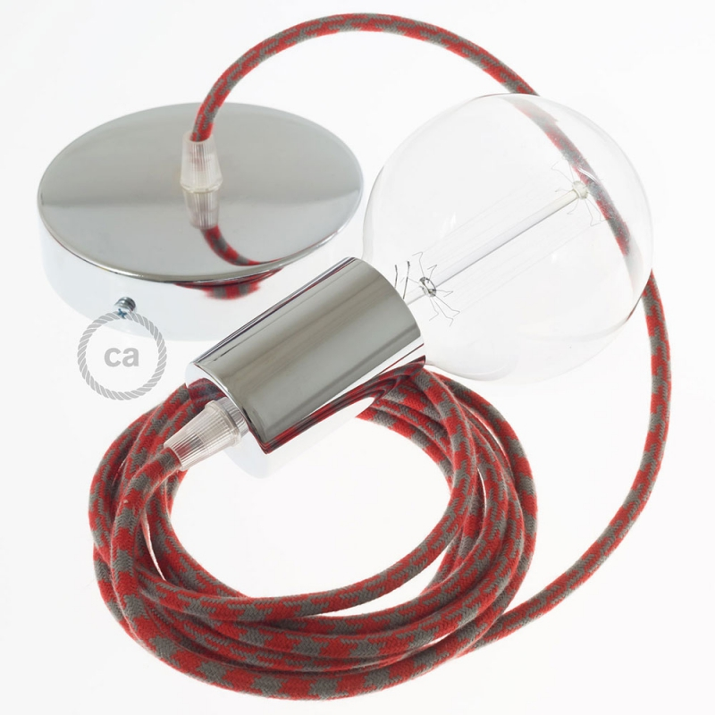 Single Pendant, suspended lamp with Red & Gray Cotton Houndstooth textile cable RP28