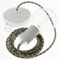 Single Pendant, suspended lamp with Thyme & Ivory Cotton Houndstooth textile cable RP30