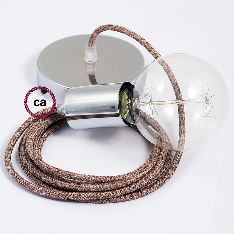 Single Pendant, suspended lamp with Brown Glitter Cotton & Natural Linen Tweed textile cable RS82