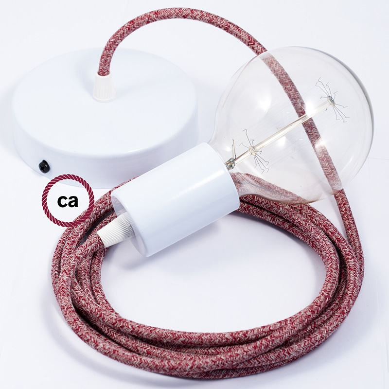 Single Pendant, suspended lamp with Red Glitter Cotton & Natural Linen Tweed textile cable RS83