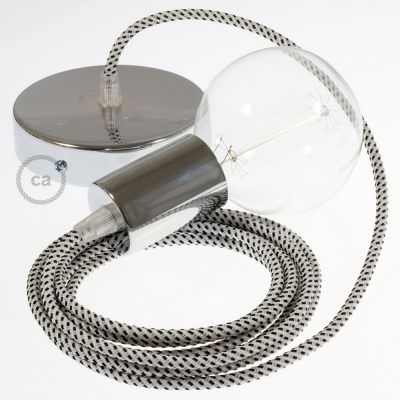 Single Pendant, suspended lamp with White & Black Tracer textile cable RT14