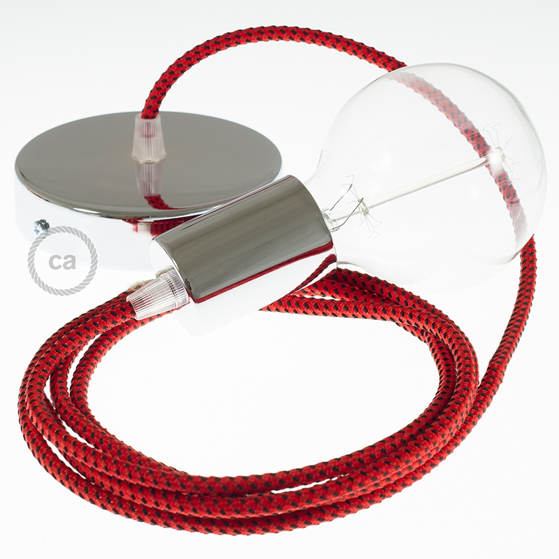 Single Pendant, suspended lamp with Red & Black Tracer textile cable RT94