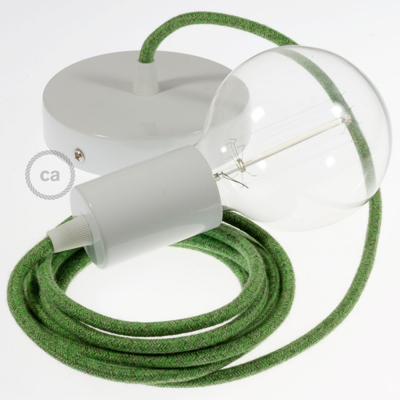 Single Pendant, suspended lamp with Green Cotton Tweed textile cable RX08