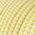 Single Pendant, suspended lamp with Yellow & White Chevron textile cable RZ10
