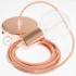 Single Pendant, suspended lamp with Orange & White Chevron textile cable RZ15