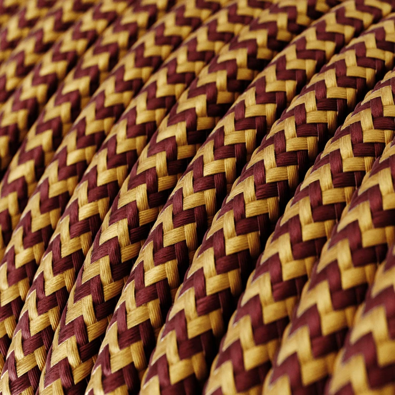 Single Pendant, suspended lamp with Gold & Burgundy Rayon Chevron textile cable RZ23