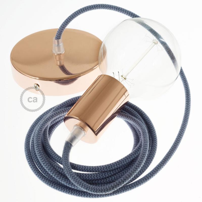 Single Pendant, suspended lamp with Blue Cotton chevron textile cable RZ25