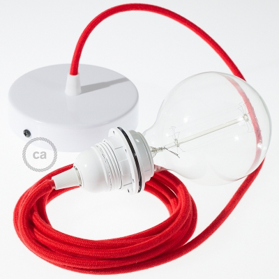 Pendant for lampshade, suspended lamp with Red Cotton textile cable RC35