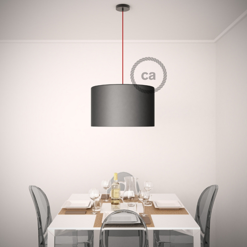 Pendant for lampshade, suspended lamp with Natural & Charcoal Linen CrissCross textile cable RD64