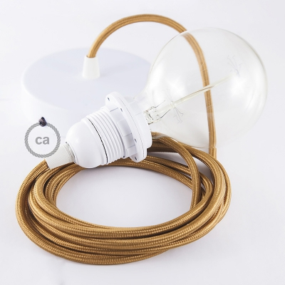 Pendant for lampshade, suspended lamp with Copper Rayon textile cable RM22