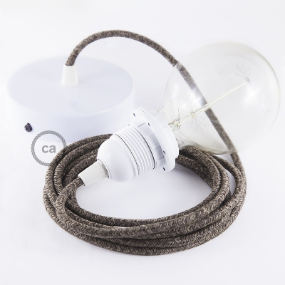 Pendant for lampshade, suspended lamp with Brown Linen textile cable RN04
