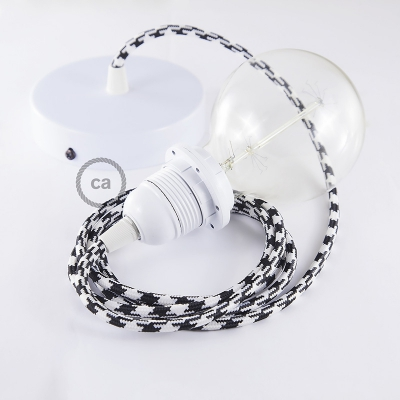 Pendant for lampshade, suspended lamp with Black & White Houndstooth textile cable RP04