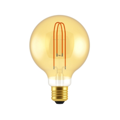 Large Light Bulbs - G95 Globe Shape - Amber Glass