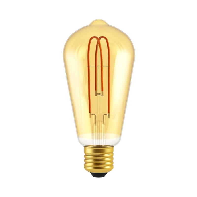 Classic Edison Bulb - ST64 Looping Filament - Amber Glass