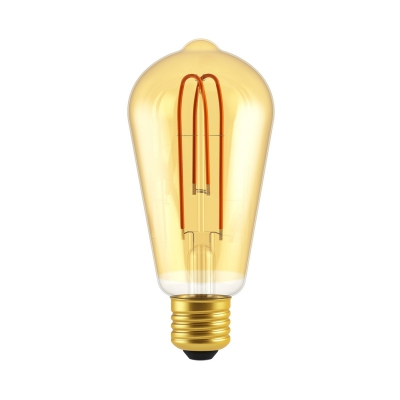 Classic Edison Bulb - ST21 (ST64) Looping Filament - Amber Glass