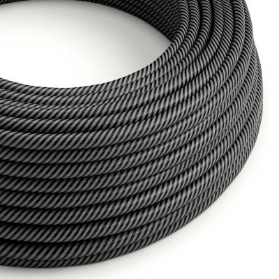 Round Electric Vertigo HD Cable covered by Graphite and Black Thin Stripes fabric ERM38