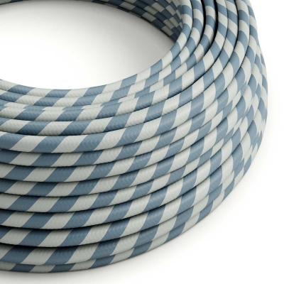 Round Electric Vertigo HD Cable covered by Light Blue and Avio Blue fabric ERM40