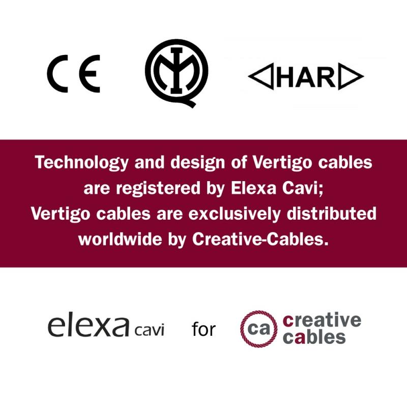Round Electric Vertigo HD Cable covered by Light Blue and Avio Blue fabric ERM40
