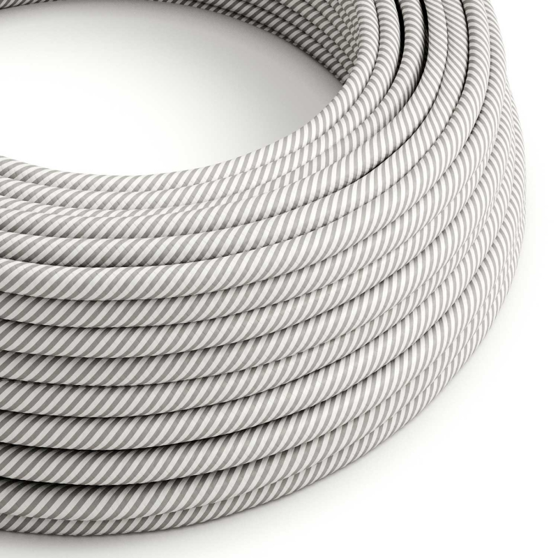 Round Electric Vertigo HD Cable covered by White and Aluminium fabric ERM46