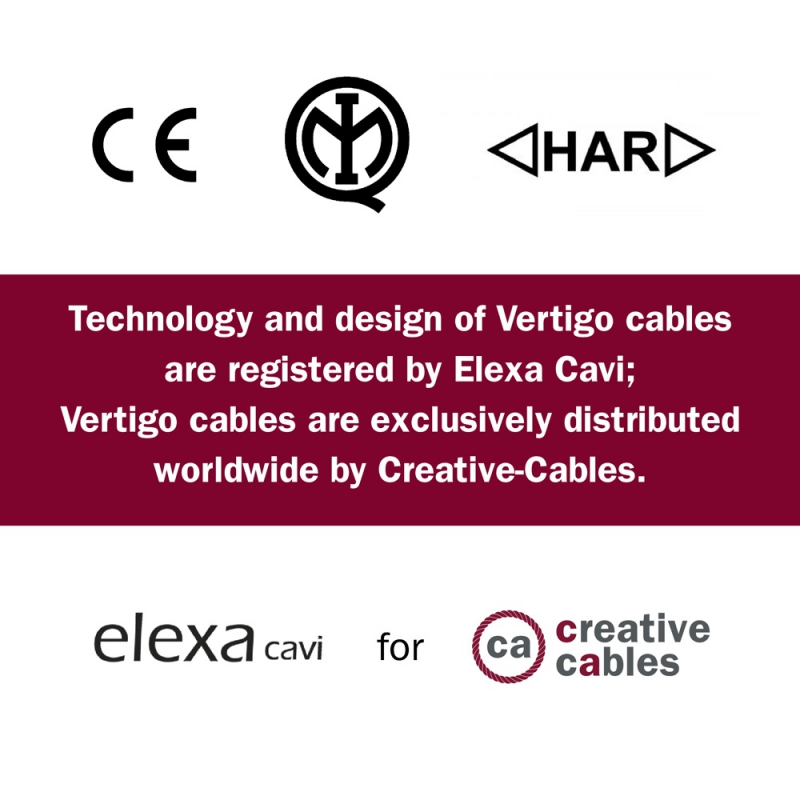 Round Electric Vertigo HD Cable covered by Fuchsia and Dark Purple fabric ERM50
