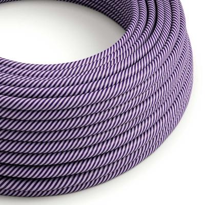 Round Electric Vertigo HD Cable covered by Lilac and Dark Purple fabric ERM52
