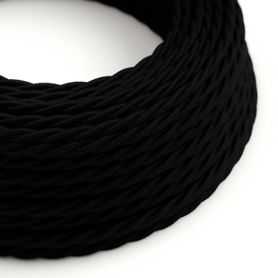 Black Cotton covered Twisted electric cable 2x18 AWG - TC04