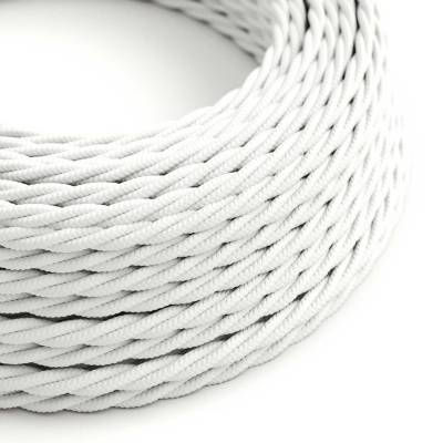 White Rayon covered Twisted electric cable 2x18 AWG - TM01