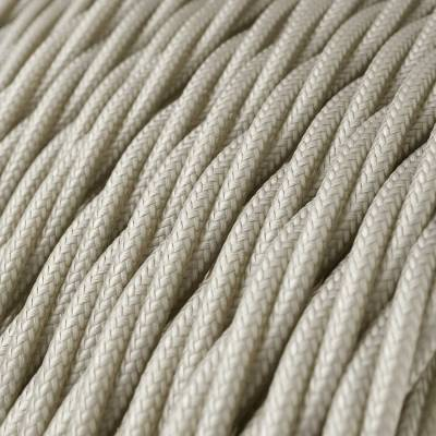 Ivory Rayon covered Twisted electric cable 2x18 AWG - TM00