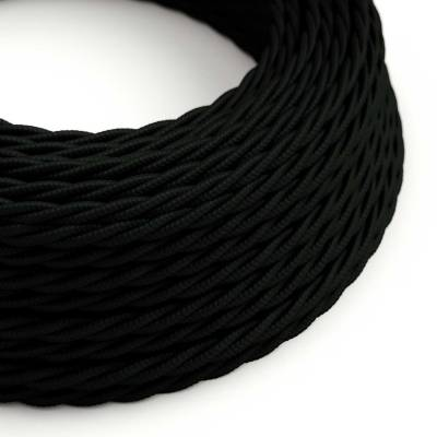 Black Rayon covered Twisted electric cable 2x18 AWG - TM04