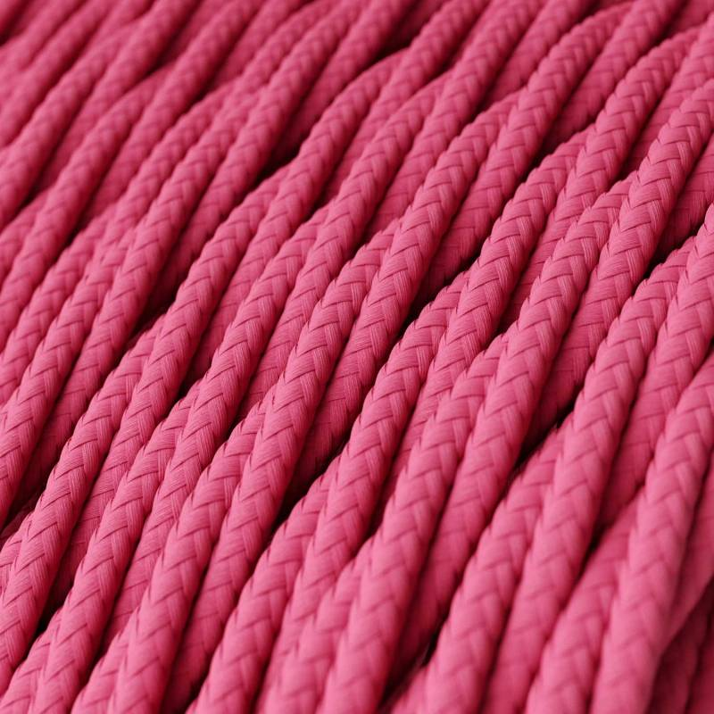 Fuchsia Rayon covered Twisted electric cable 2x18 AWG - TM08