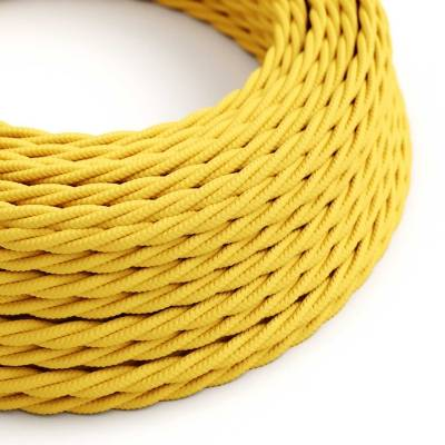 Yellow Rayon covered Twisted electric cable 2x18 AWG - TM10