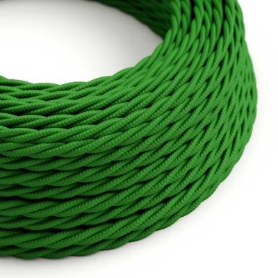 Green Rayon covered Twisted electric cable 2x18 AWG - TM06