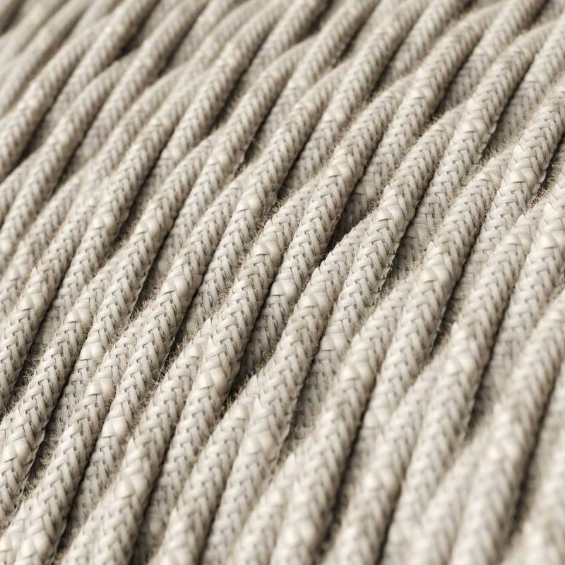 Natural Linen covered Twisted electric cable 2x18 AWG - TN01