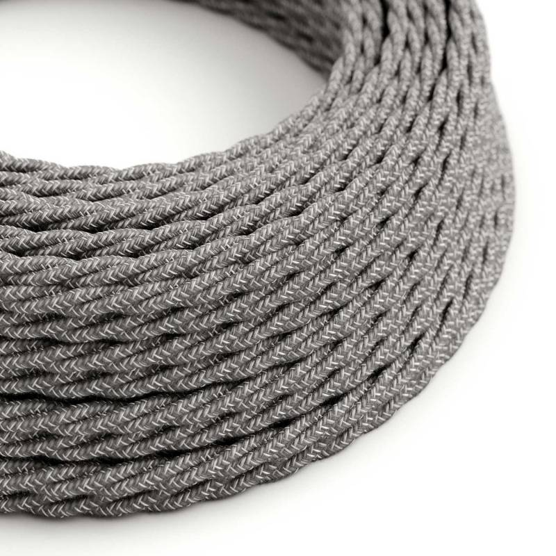 Gray Linen covered Twisted electric cable 2x18 AWG - TN02