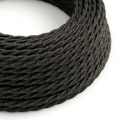 Charcoal Linen covered Twisted electric cable 2x18 AWG - TN03