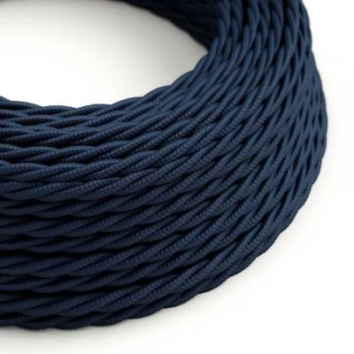 Dark Blue Rayon covered Twisted electric cable 2x18 AWG - TM20
