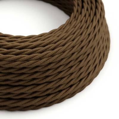 Brown Cotton covered Twisted electric cable 2x18 AWG - TC13